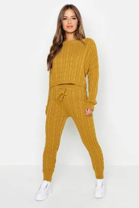 boohoo Petite Cable Knit Lounge Set