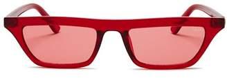 Quay Women's Finesse Slim Square Sunglasses, 55.5mm