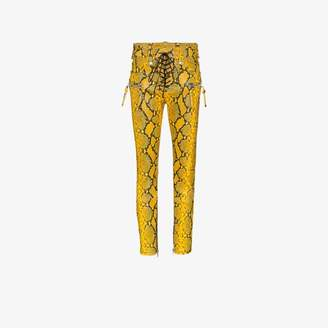 Unravel Project Snake Print Faux Leather Skinny Trousers