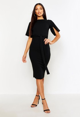 boohoo Split Sleeve Tie Waist Wiggle Midi Dress
