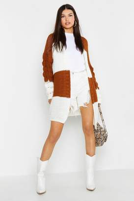 boohoo Bobble Sleeve Colour Block Cardigan