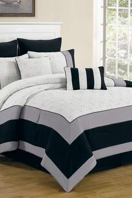 Duck River Textile Queen Spain 8-Piece Comforter Set - White/Black