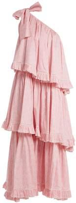 GÜL HÜRGEL One-shoulder chevron-striped cotton dress