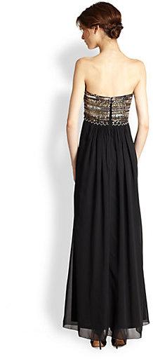 Aidan Mattox Strapless Beaded Silk Gown