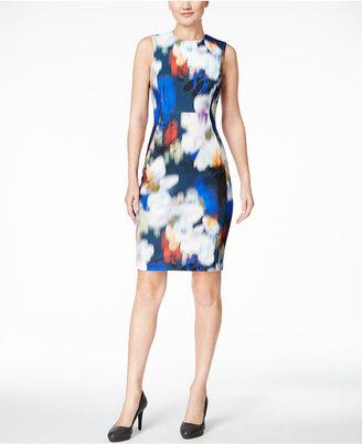 Calvin Klein Blurred Floral-Print Scuba Sheath Dress $134 thestylecure.com