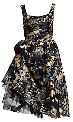 Marchesa Women's Foil Printed Gathered Tulle Silk Cocktail Dress