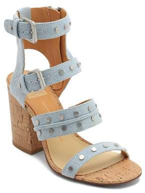 Dolce Vita Women's Eddie Denim High Block Heel Gladiator Sandals