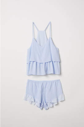 H&M Pajama Camisole Top and Shorts - Blue