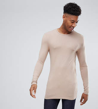 BEIGE Asos Design ASOS DESIGN Tall longline long sleeve t-shirt with crew neck in