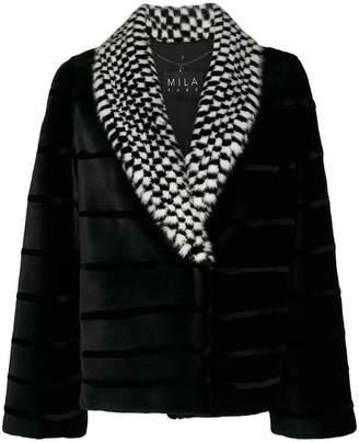 Cara Mila Midira Checkered Mink Jacket