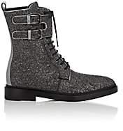 Paul Andrew Women's Metallic Bouclé Ankle Boots - Silver