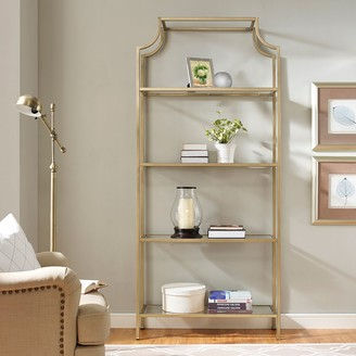 Crosley Furniture Aimee Glass Etagere 4-Shelf Bookcase