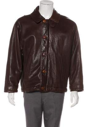 Giorgio Armani Leather Zip-Up Jacket
