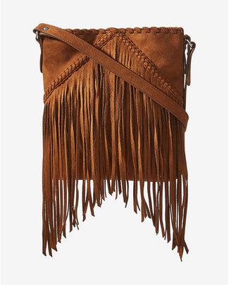 Express faux suede fringe cross body bag $39.90 thestylecure.com