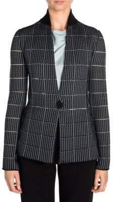 Giorgio Armani Ottoman Contrast Collar One-Button Blazer