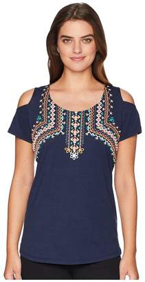Tribal Short Sleeve Jersey Cold Shoulder Top Women's Clothing