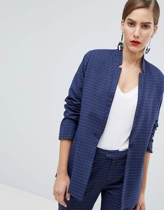 Custom Made Custommade Checked Blazer with Inverted Lapel