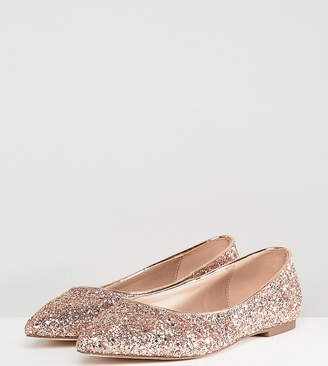 Asos DESIGN Latch Extra Wide Fit Pointed Ballet Flats