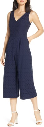 Vince Camuto Cotton Eyelet Sleeveless Crop Wide Leg Jumpsuit
