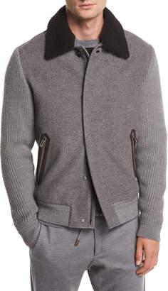 Ermenegildo Zegna Zip-Front Cashmere/Wool Bomber Jacket w/ Shearling Collar