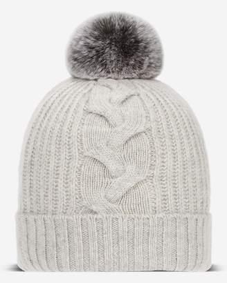 419c86bd035 N.Peal Fur Bobble Cable Cashmere Hat