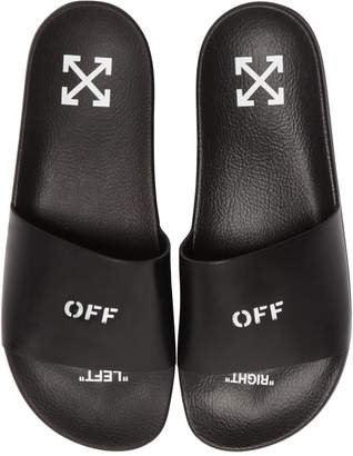 Off-White Off White Off Printed Leather Slide Sandals