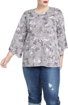 Rachel Roy Bell Sleeve Print Top