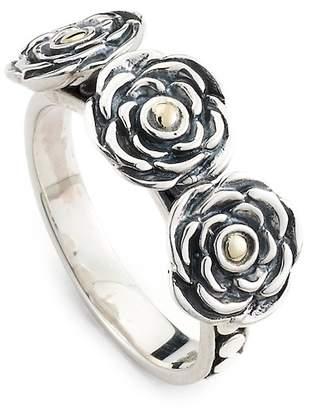 Samuel B Jewelry 18K Gold & Sterling Silver Triple Flower Ring