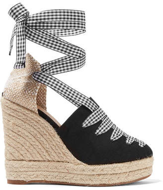 Castaner Lula Gingham-trimmed Canvas Wedge Espadrilles - Black