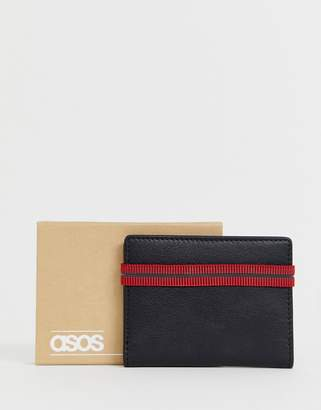 Asos Design DESIGN leather wallet with elastic detail in black