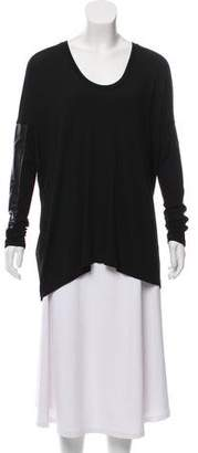 Mason Oversize Leather-Accented Top