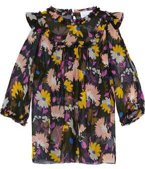 Alice McCall Diamond Eyes Cold-Shoulder Floral-Print Silk-Georgette Blouse