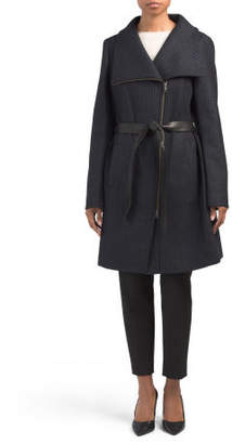 Wool Coat With Toe Leather Belt