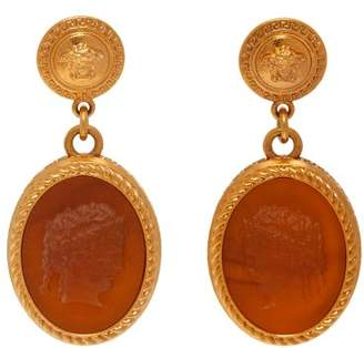 Versace Cameo Gold Tone Brass Dropped Earrings - Womens - Brown