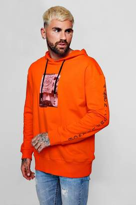 boohoo Chest And Sleeve Print Over The Head Hoodie