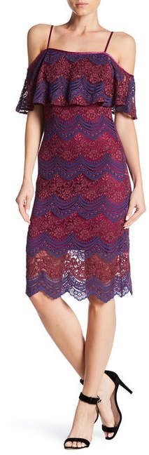 bebe Midi Lace Cold Shoulder Dress