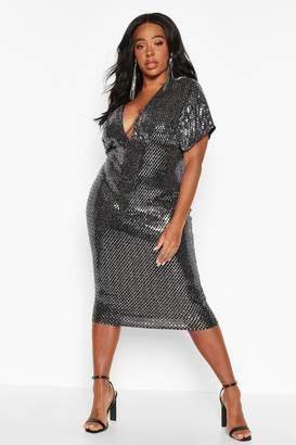 boohoo Plus Sequin Kimono Sleeve Midi Dress