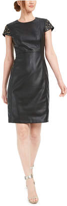 Calvin Klein Studded Faux-Leather Sheath Dress