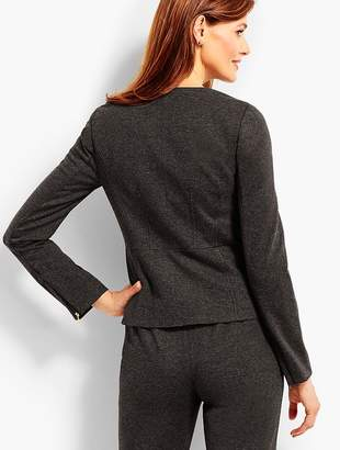Talbots Luxe Herringbone Knit Zip-Front Jacket