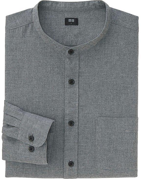 Men Flannel Stand Collar Long Sleeve Shirt 8
