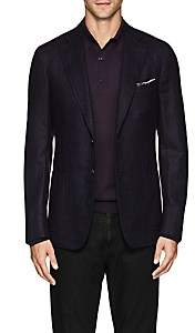Isaia Men's Cortina Wool-Blend Hopsack Two-Button Sportcoat - Purple