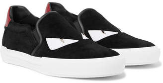 Fendi Bag Bugs Leather-Trimmed Suede Slip-On Sneakers
