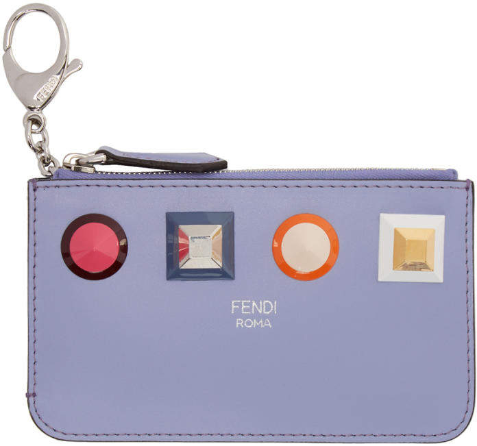 Fendi Blue Rainbow Zip Card Holder