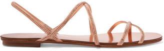 Pedro Garcia Esme Swarovski Crystal-embellished Satin Sandals - Pink