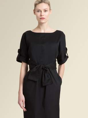 DKNY Stretch Poplin Dress With Waist Tie
