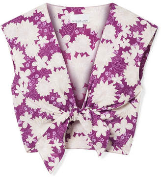 Miguelina Marcy Cropped Tie-front Floral-print Cotton-voile Top - Violet