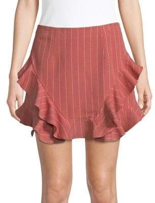 Saylor Jayce Striped Ruffle Mini Skirt