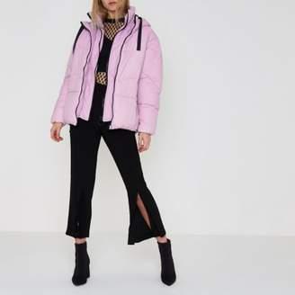 River Island Womens Purple faux fur trim oversized puffer jacket