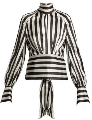 Petar Petrov Eyre Striped Silk Blouse - Womens - Black White