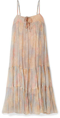 c6c125b0f5702 Mes Demoiselles Pavot Metallic Printed Voile Midi Dress - Pink